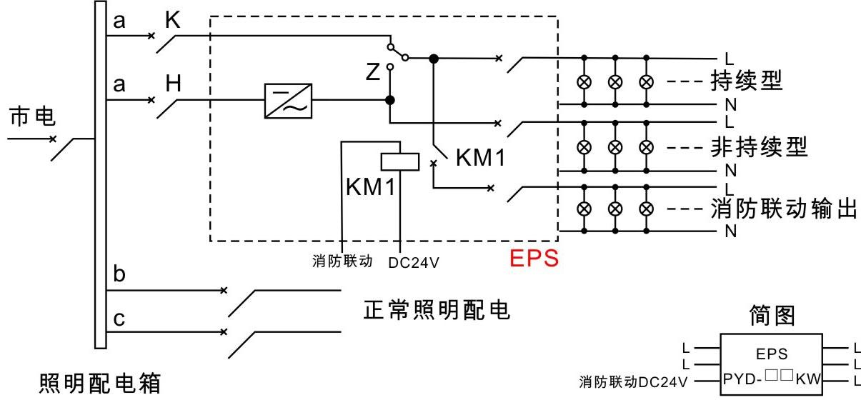 应急照明混合接线图      接线方式:混合式包括持续型,非持续型和消防
